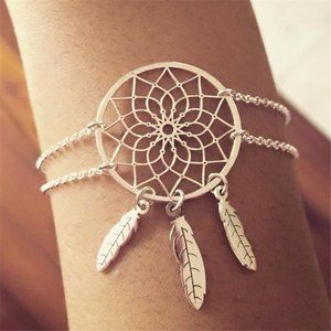Silver Dream Catcher Feather Tassel Bracelet